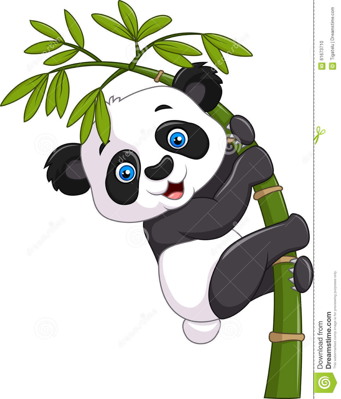 Cute Funny Baby Panda Hanging On A Bamboo Tree Stock ...