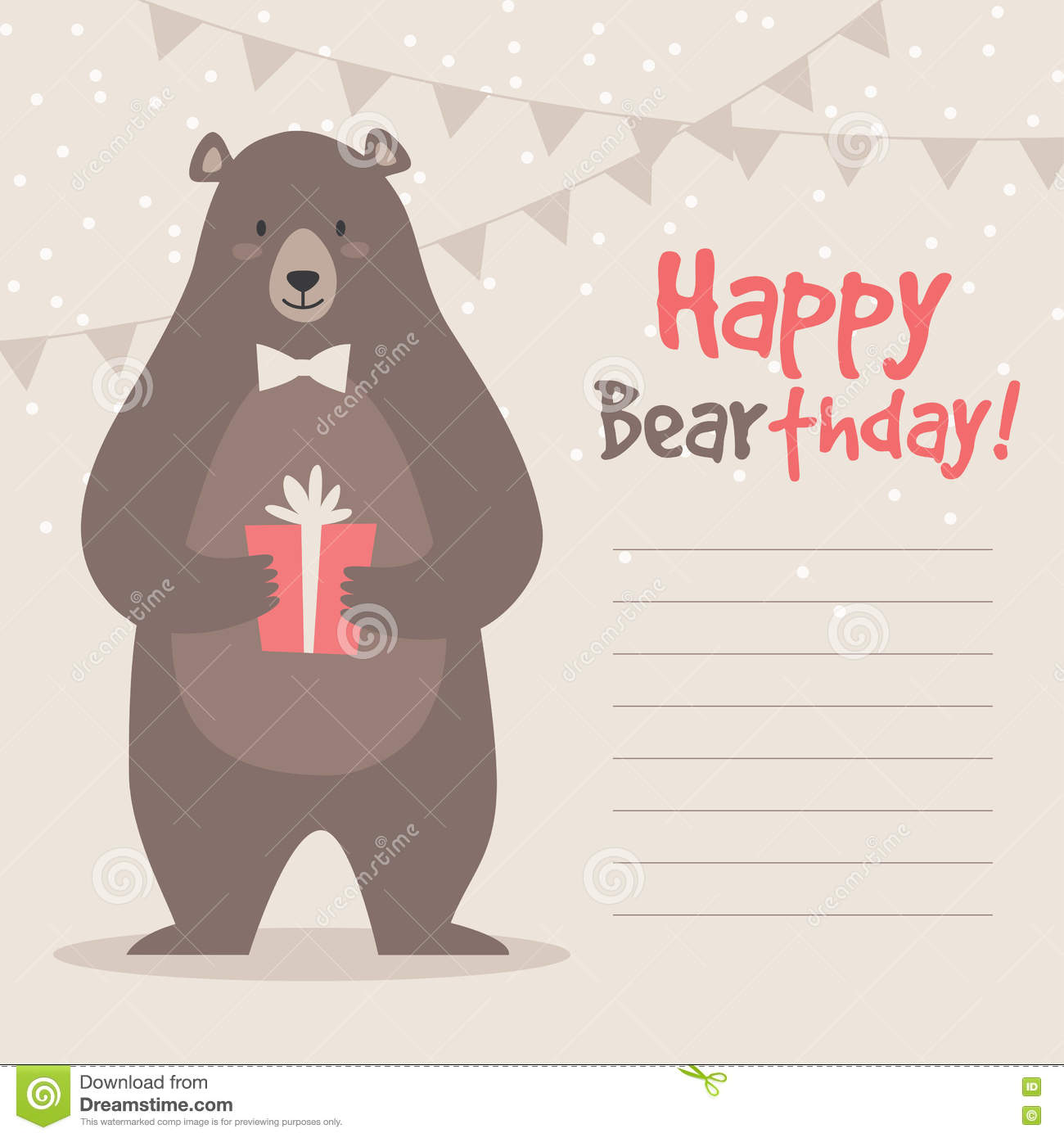 Birthday Greeting Card With Vector Illustration Of Cute Funny Bear Gift Box