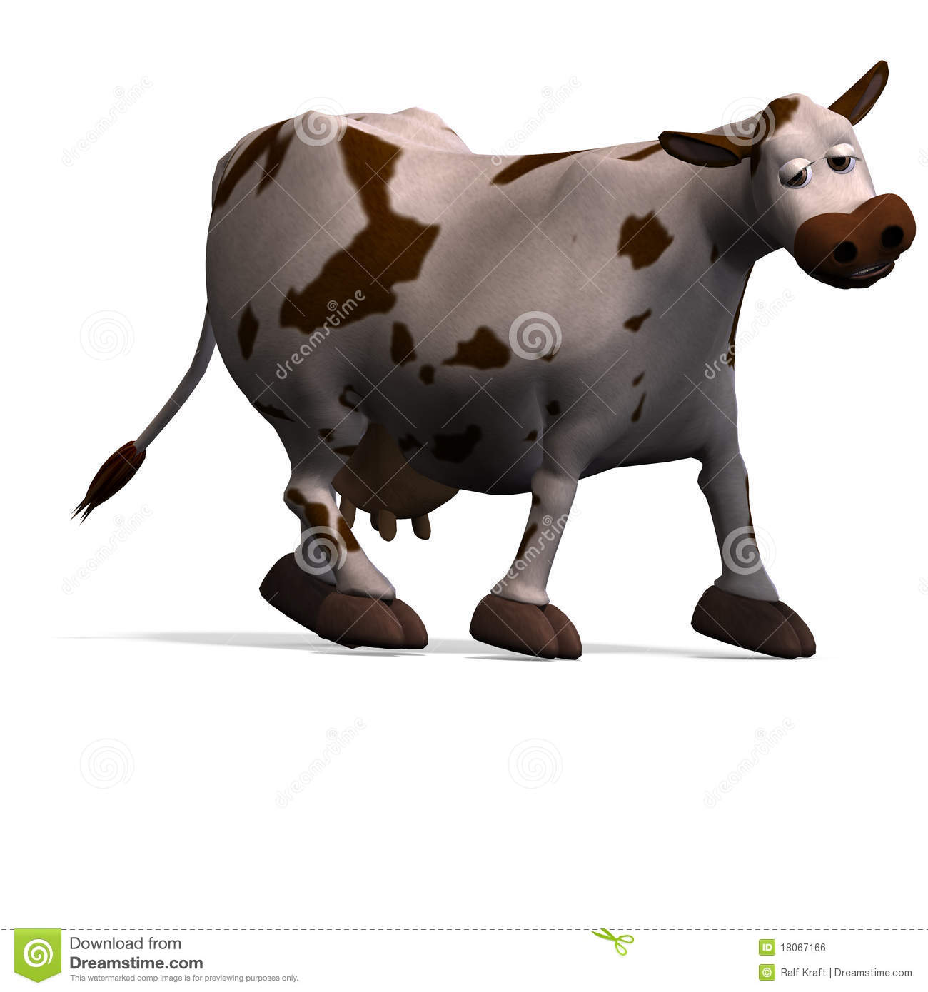 Cute and funny cartoon cow  3D rendering with clipping path and shadow    Cute Funny Cow Cartoon