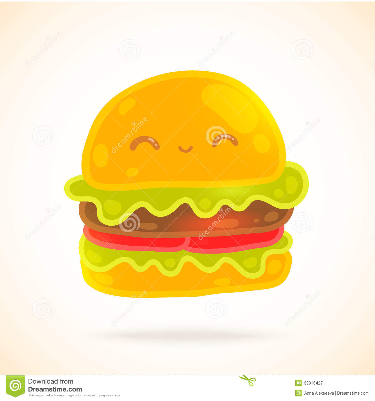 Cute Funny Cartoon Hamburger With Eyes, Smiling. Stock Vector - Image ...