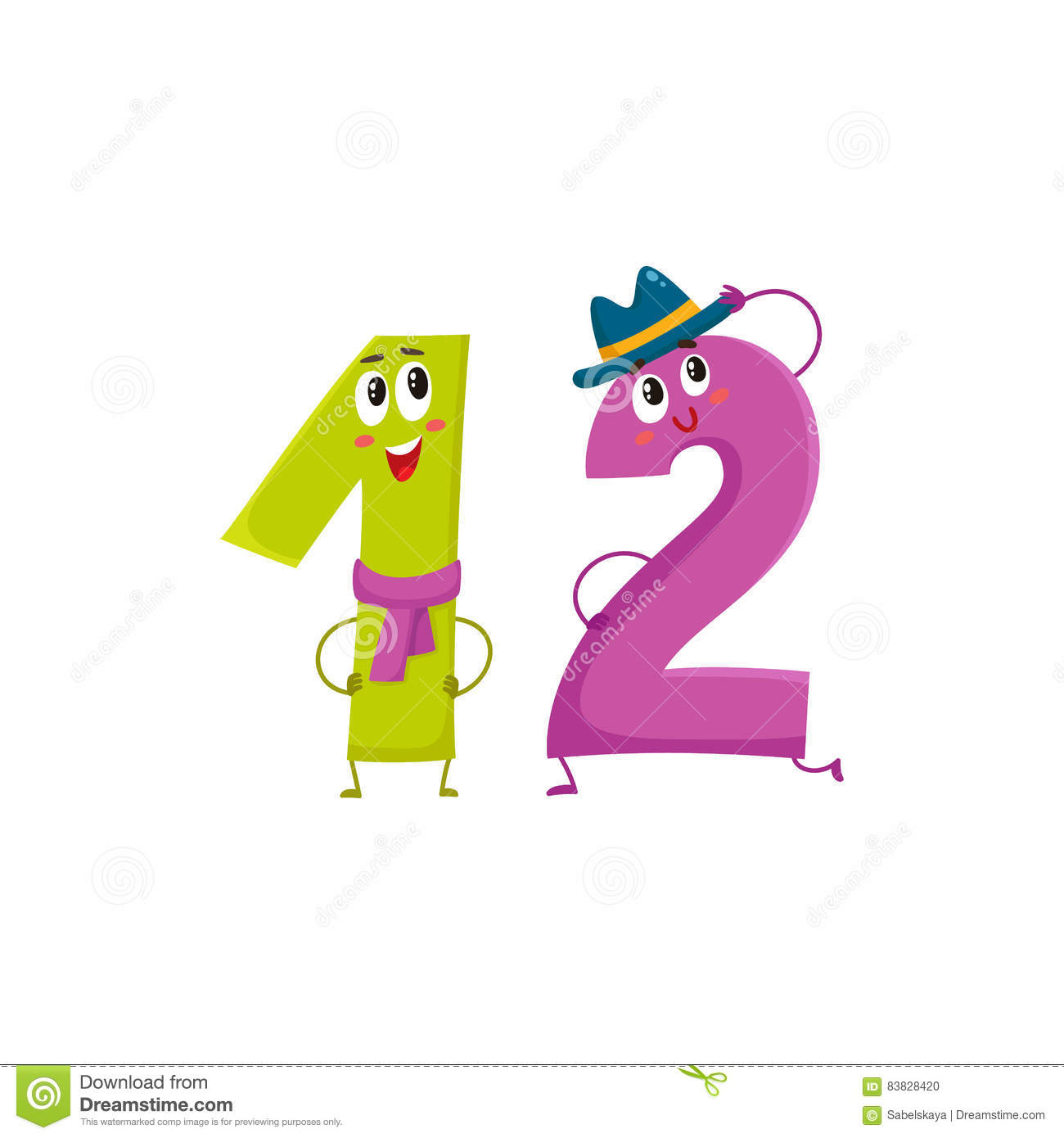 Cute And Funny Colorful 12 Number Characters, Birthday