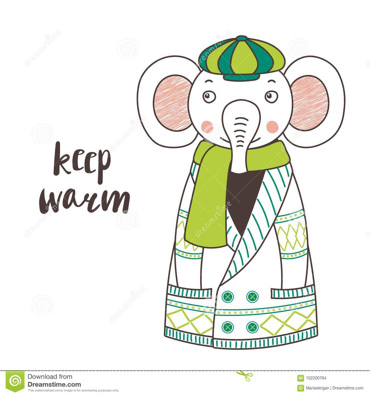 Cute funny elephant in a knitted cardigan and cap