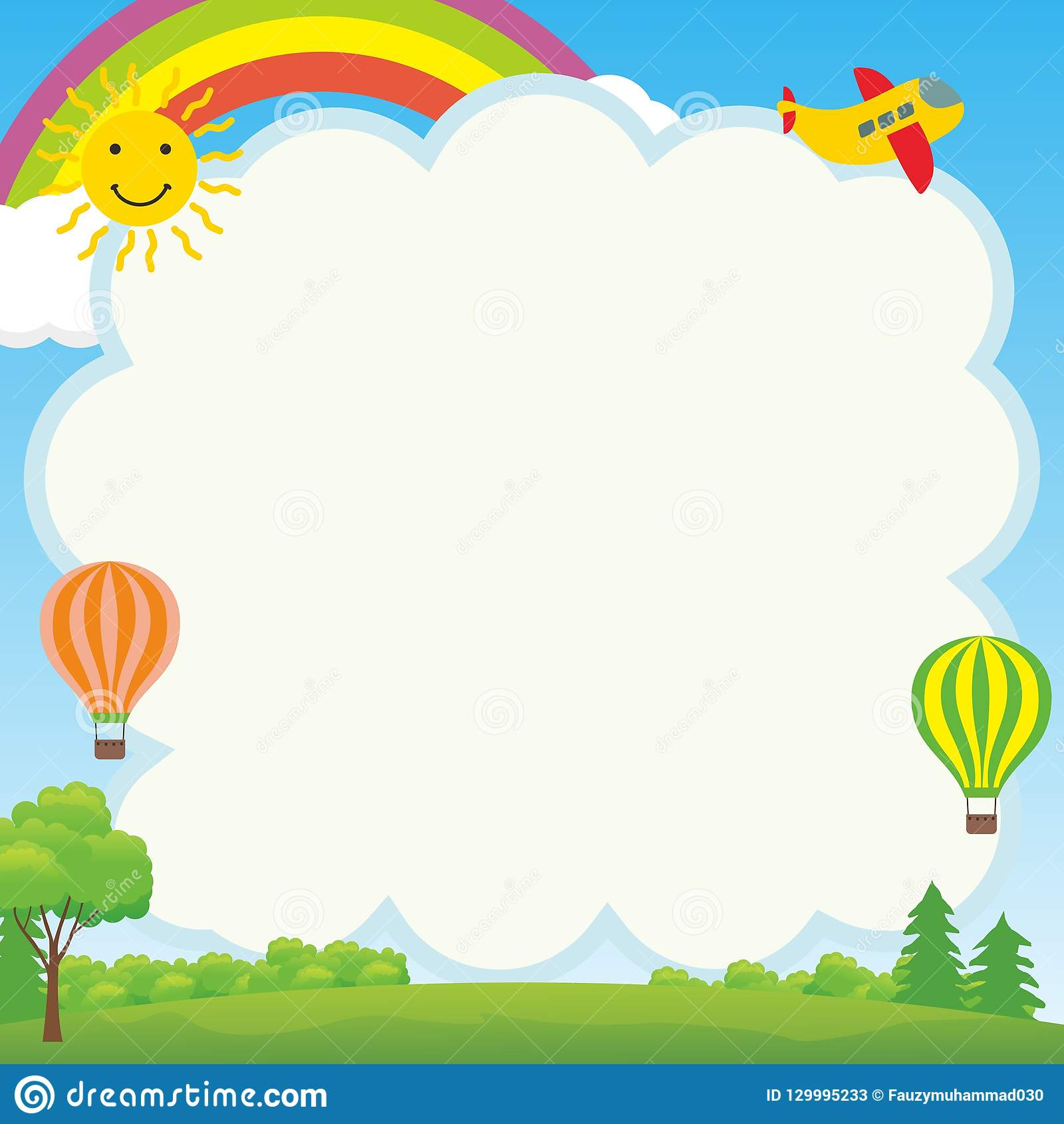Cute And Funny Frame With Landscape Cartoon Stock Vector ...