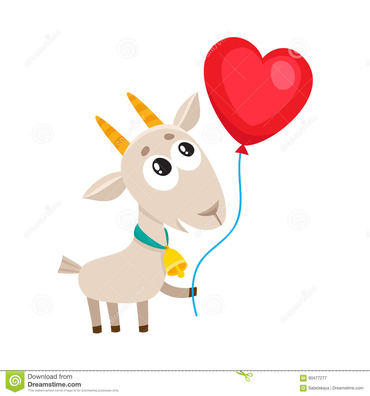 Cute and funny goat holding red heart shaped balloon, cartoon vector illustration isolated on white background. Baby goat holding heart balloon, birthday ...