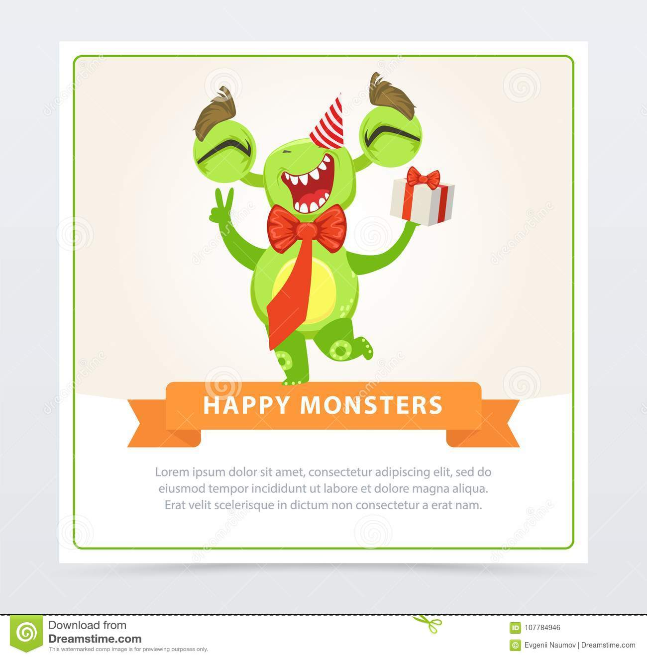 Cute funny green monster in party hat with gift box, happy monsters banner cartoon vector element for website or mobile