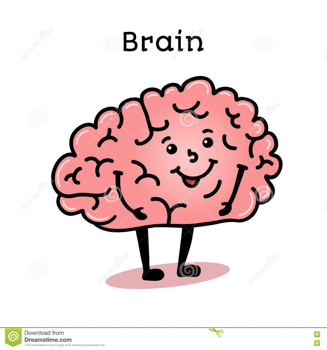 cute and funny human brain character stock vector