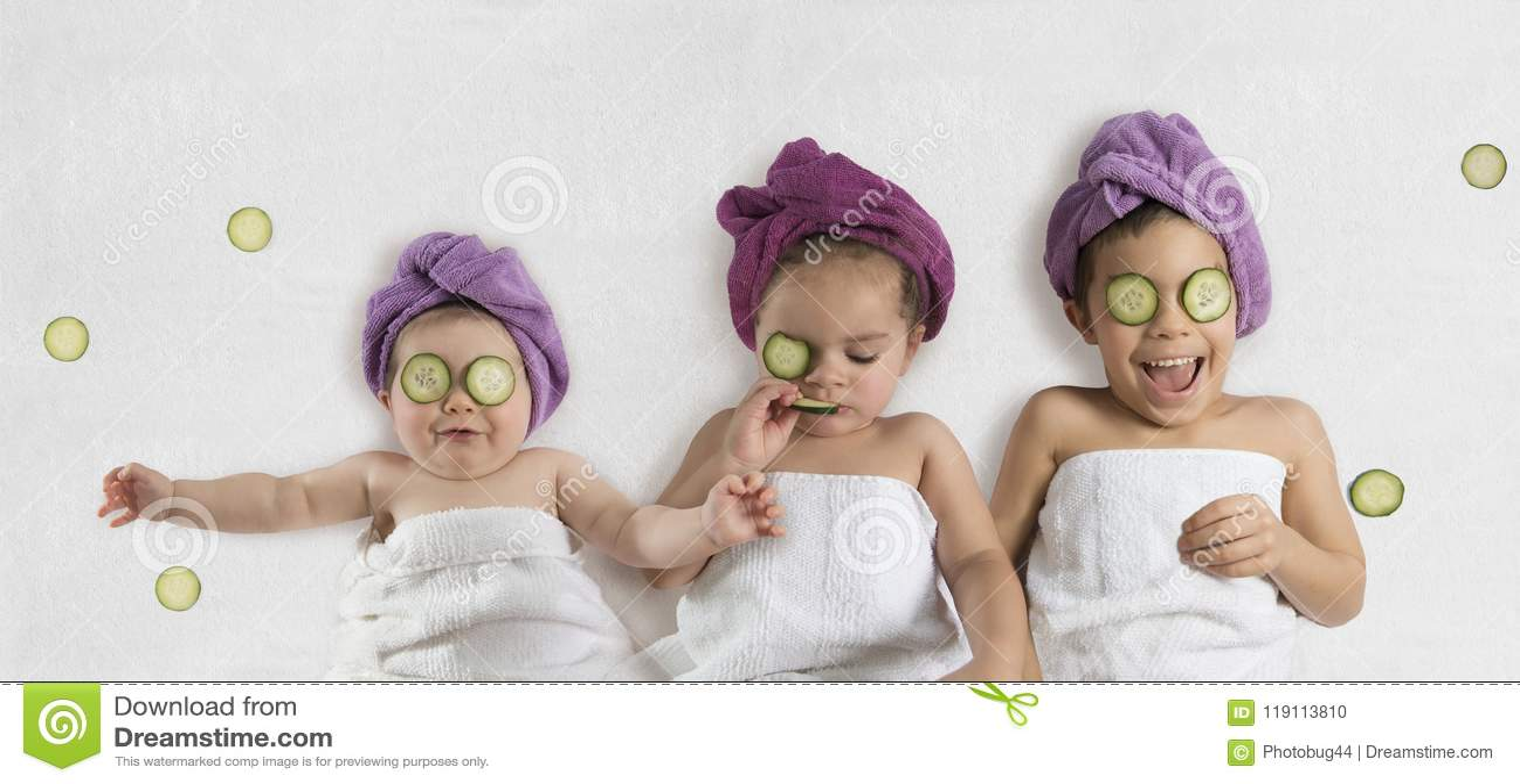 Funny kids and cucumber facials