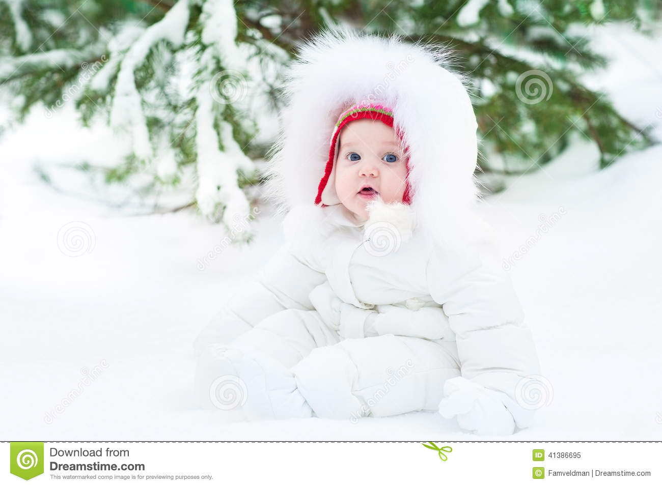 cute funny little baby in winter park under big tree stock image image of holiday cold 41386695. Black Bedroom Furniture Sets. Home Design Ideas
