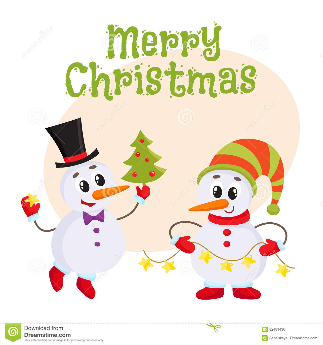 Cute And Funny Little Snowman Holding A Garland Vector Illustration