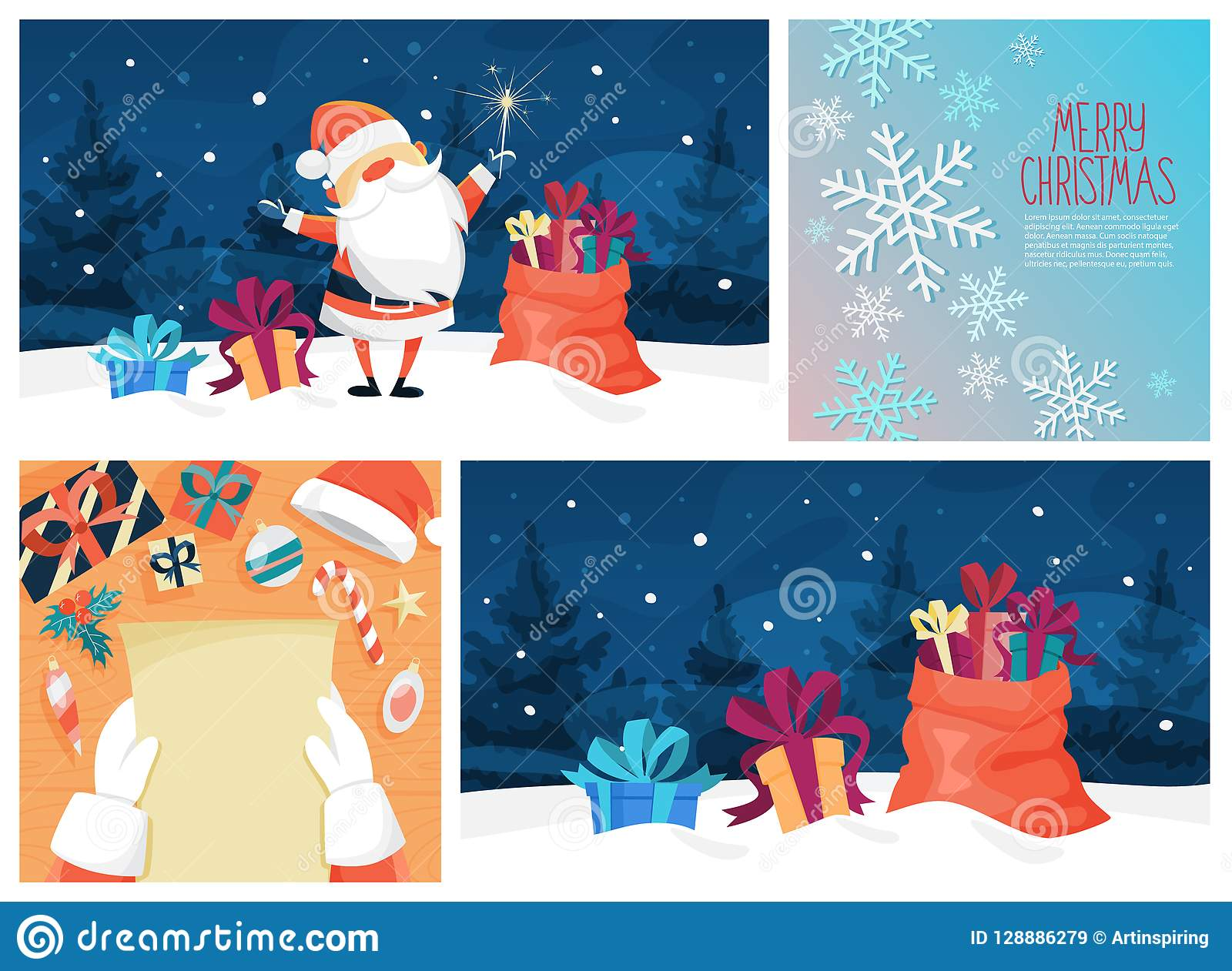 Cute Funny Merry Xmas Postcard Decoration Set Stock Vector ...