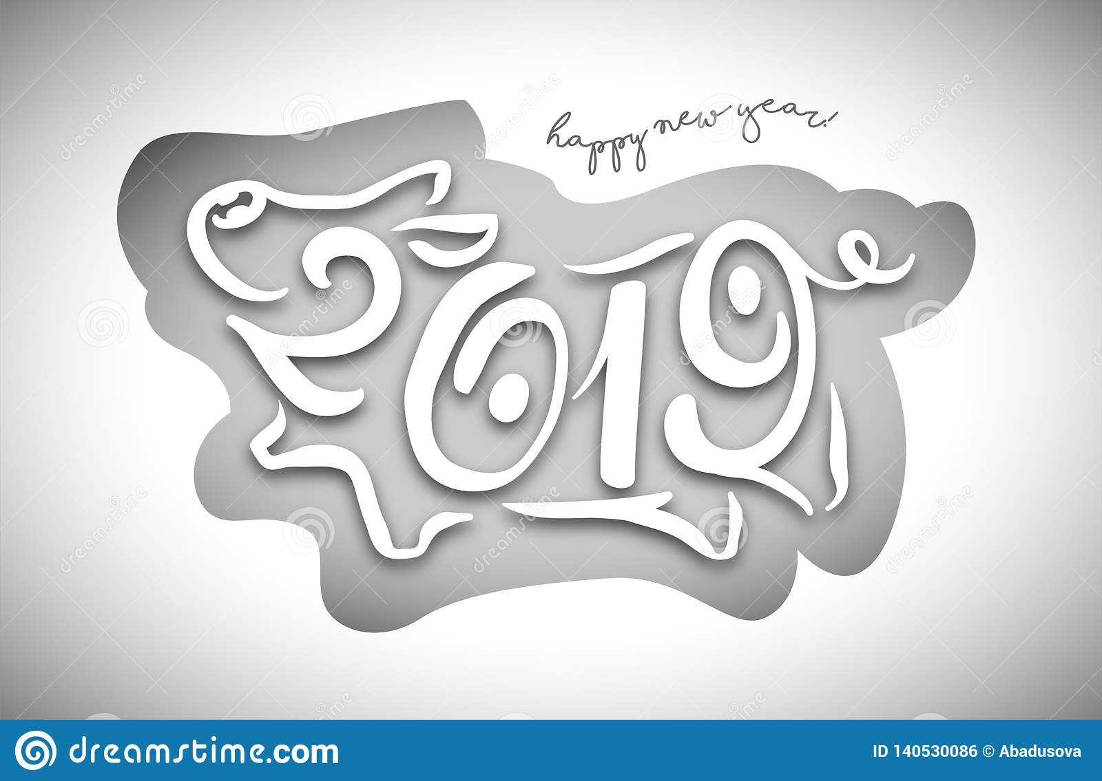Cute funny pig. Happy New Year. Chinese symbol of the 2019 year. Excellent festive gift card. Vector illustration
