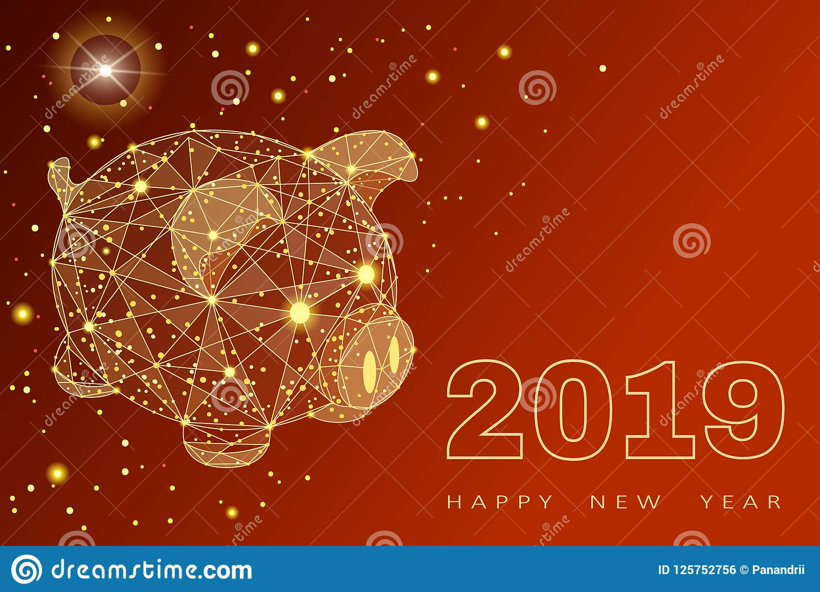 happy new year chinese symbol of the 2019 year excellent