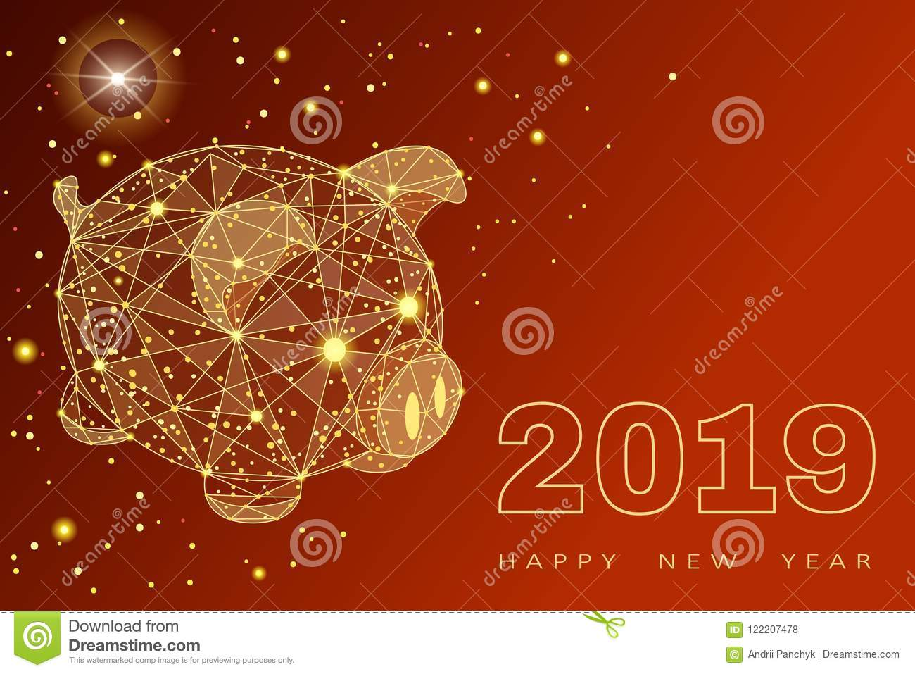 Cute funny pig. Happy New Year. Chinese symbol of the 2019 year. Excellent festive gift card. Vector illustration on red