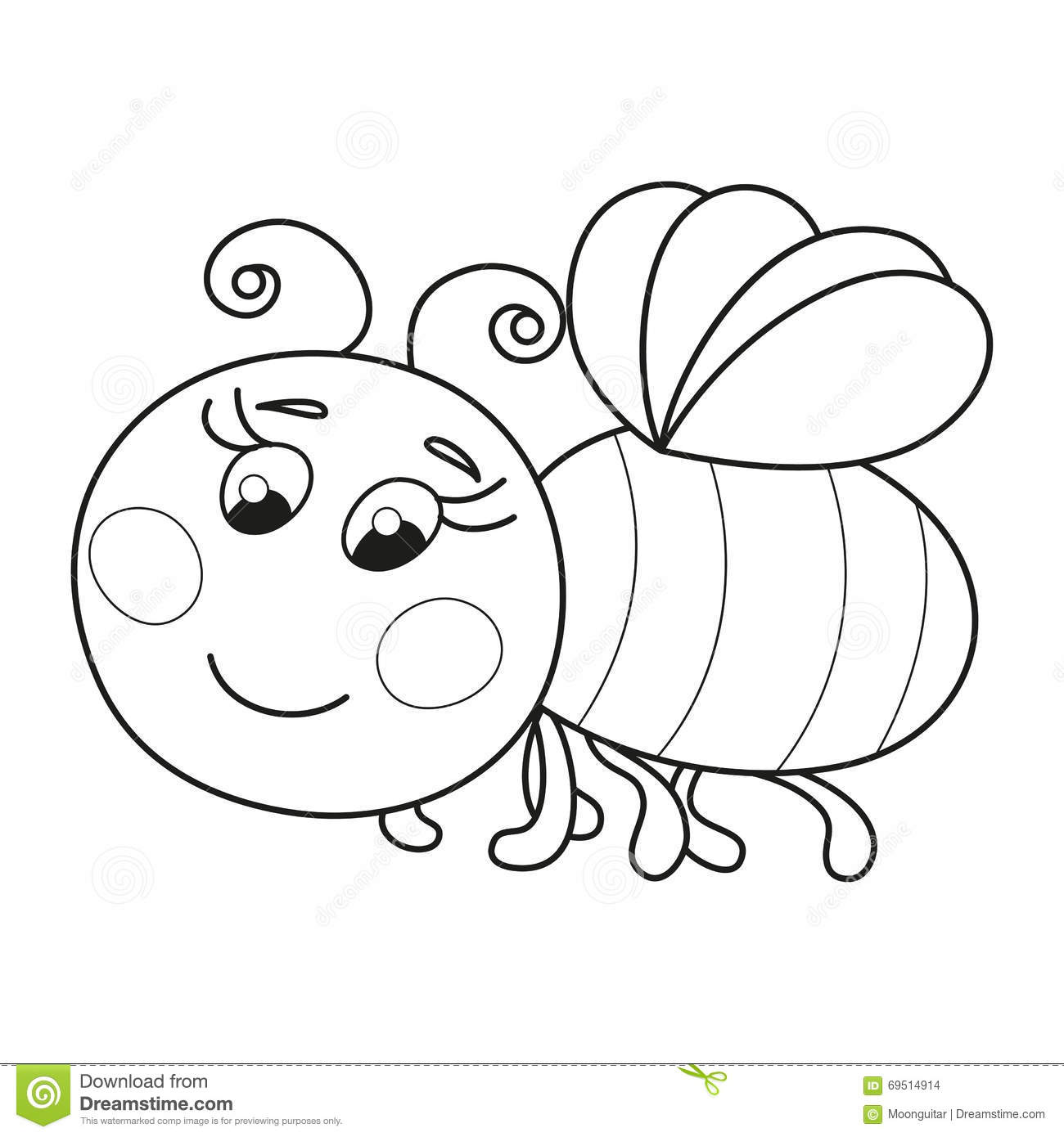 Cute Funny Ruddy Bee Flying Coloring Book Page Stock