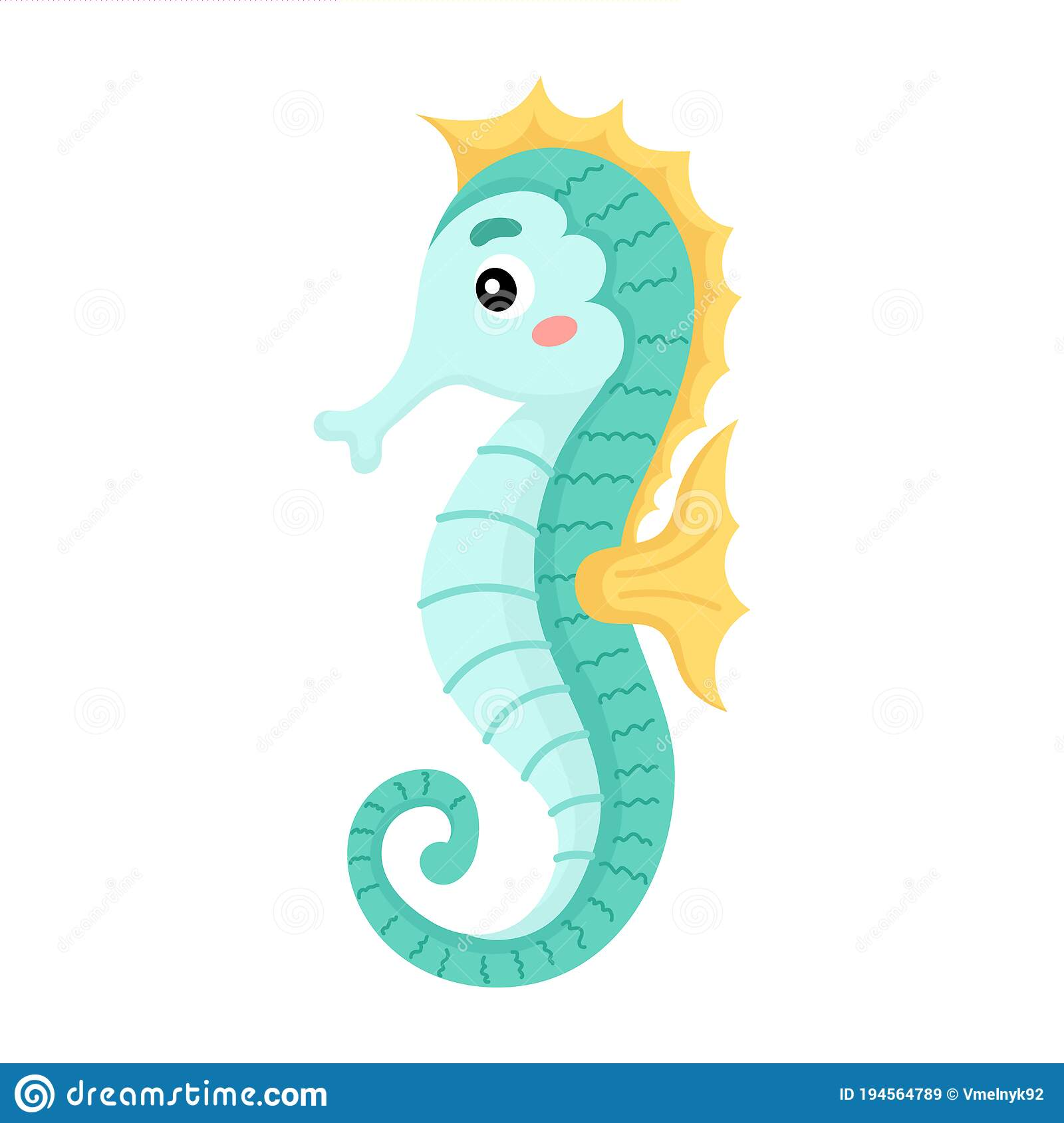 Cute Funny Seahorse Print On White Background Ocean Cartoon Animal Character For Design Of Album Scrapbook Greeting Card Stock Vector Illustration Of Banner Baby 194564789