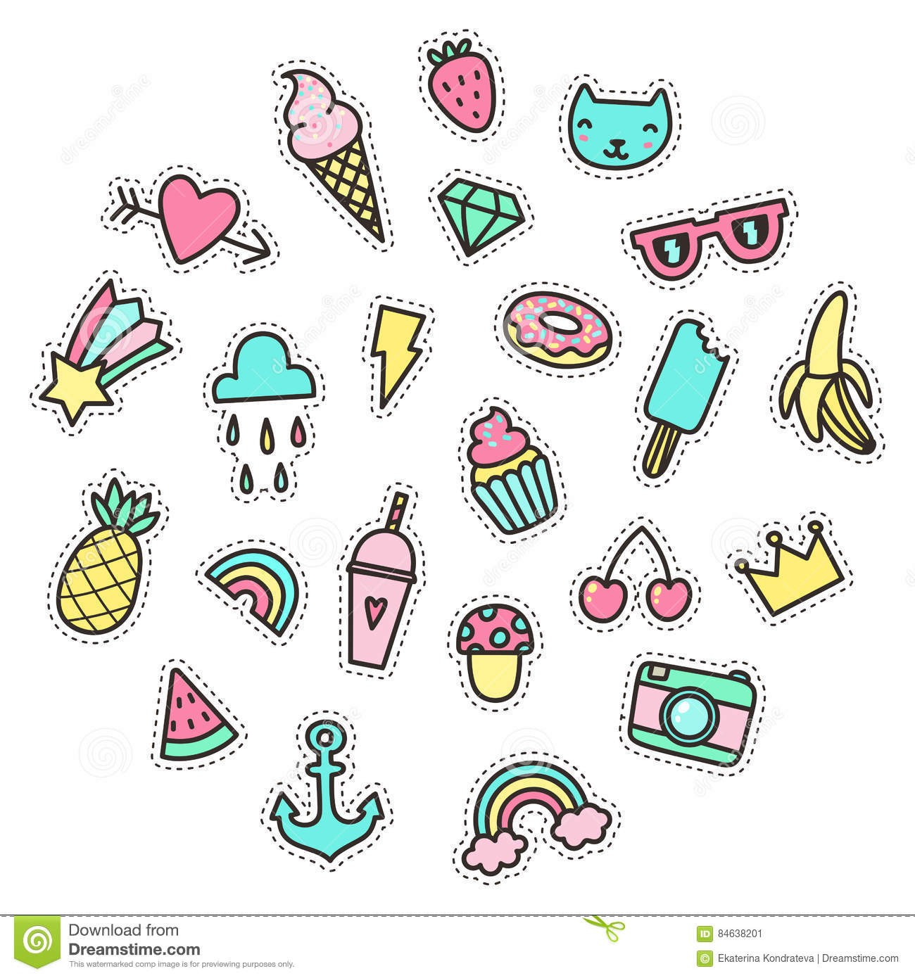 Cute Funny Small Objects Food Symbols Etc Stock Vector