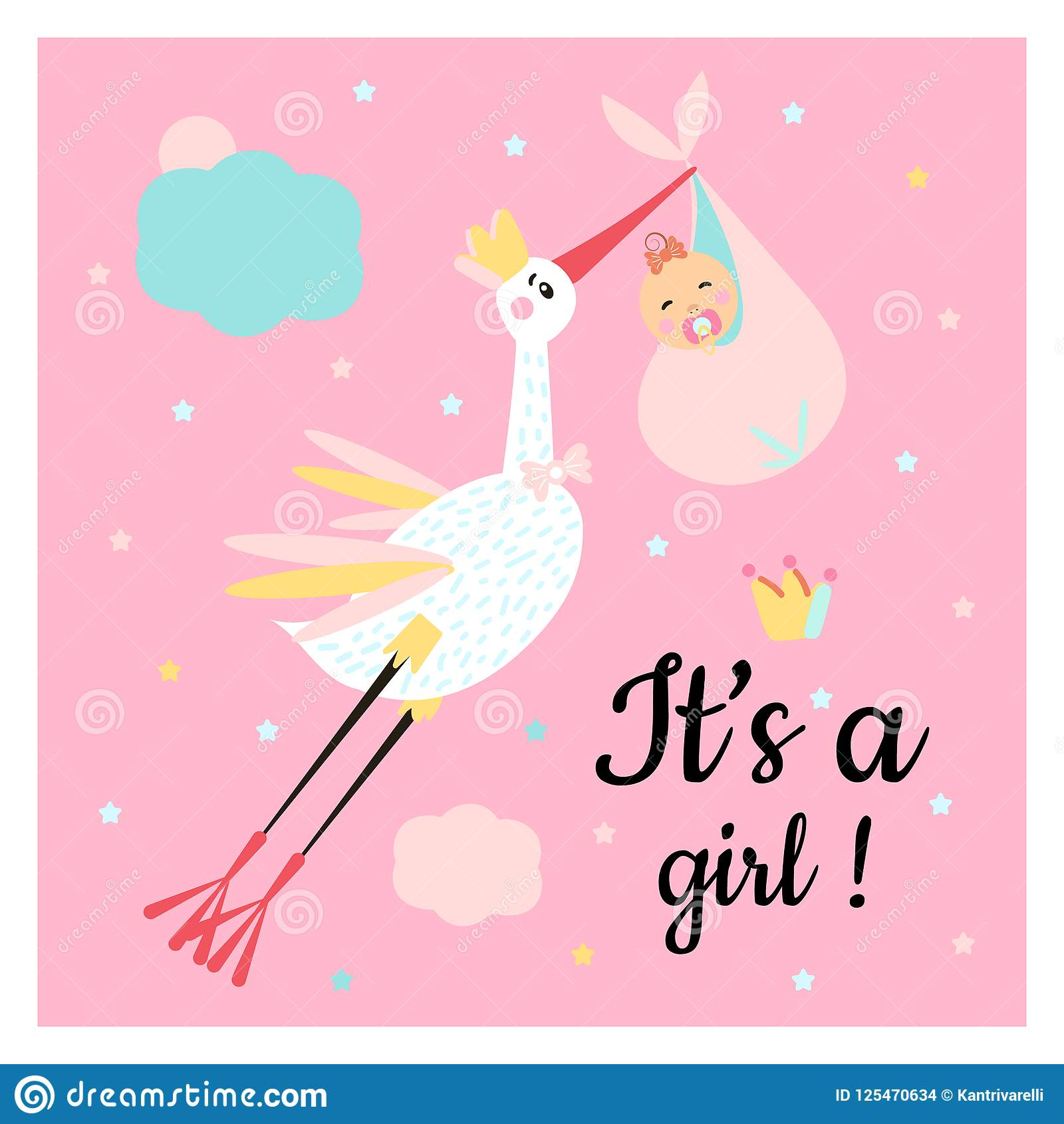 Cute funny stork and girl with different childish elements.