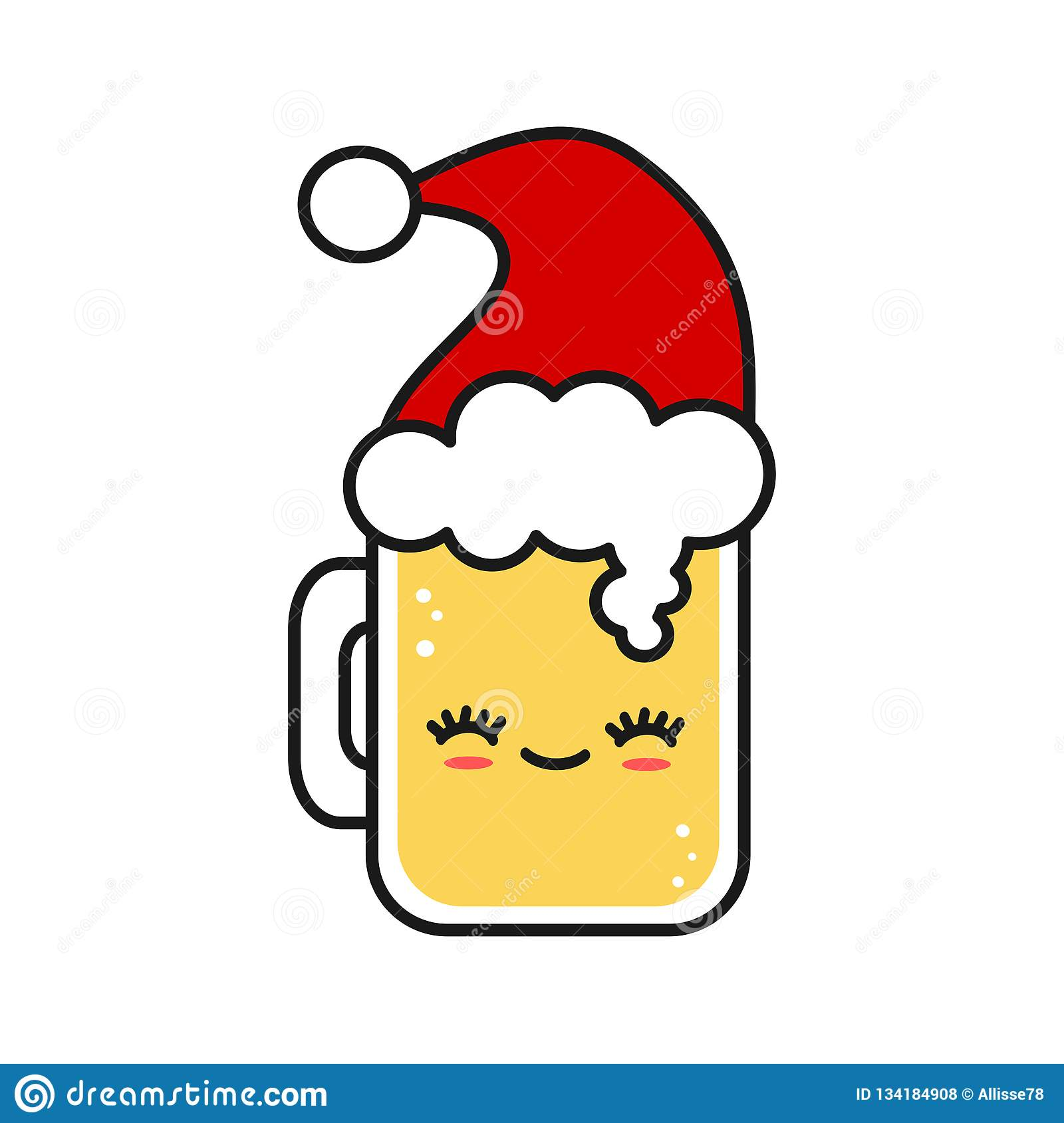 4f3124e4c146e Cute and funny christmas cartoon glass of fresh beer wearing Santa`s hat.  More similar stock illustrations