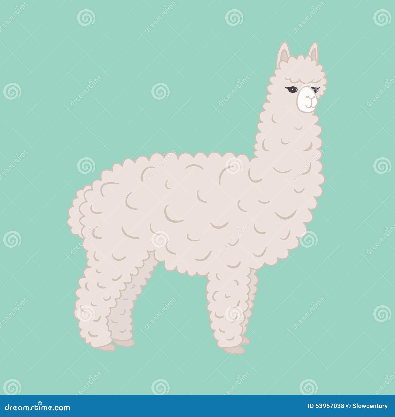Cute Furry Alpaca Stock Vector - Image: 53957038
