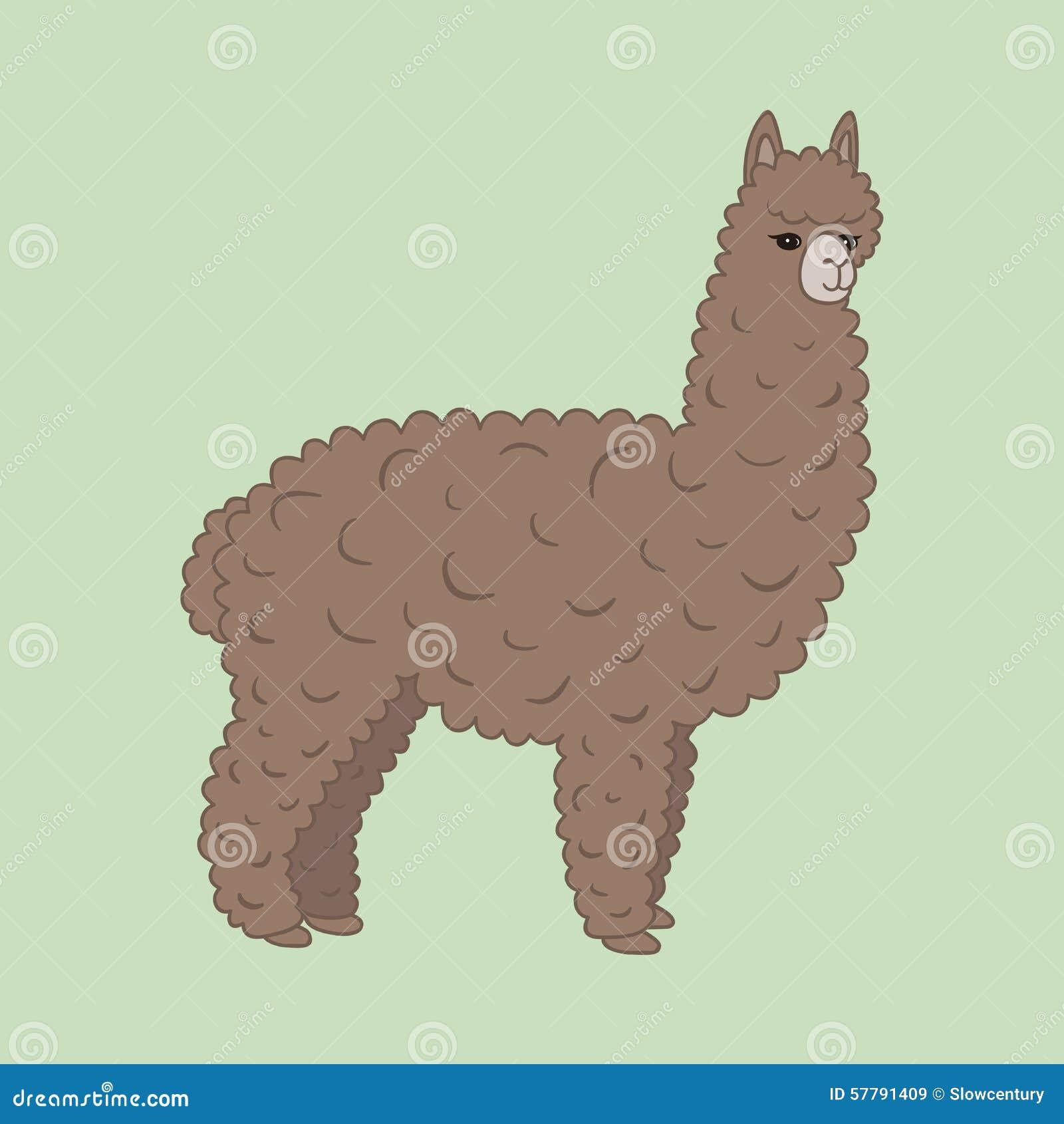 Cute Furry Brown Alpaca Stock Vector - Image: 57791409