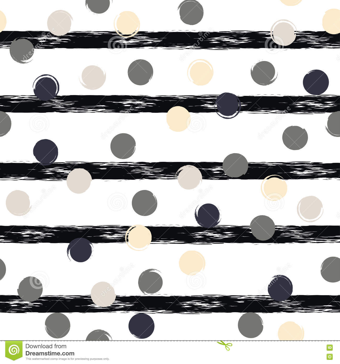 Cute geometric seamless pattern . Polka dots and stripes. Brush strokes. Hand drawn grunge texture. Abstract forms. Endless