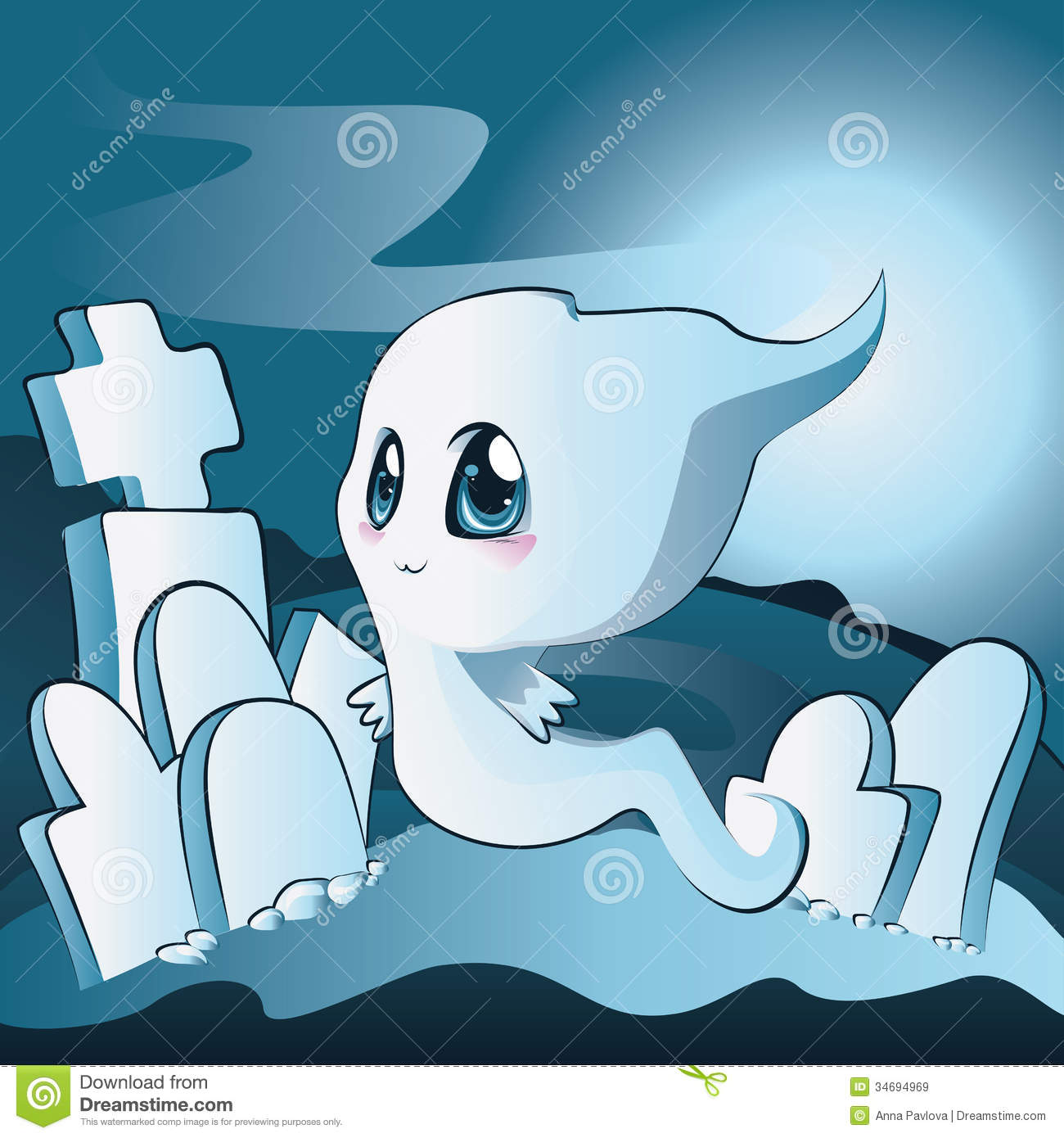 Cute Ghost On Cemetery Royalty Free Stock Images - Image: 34694969