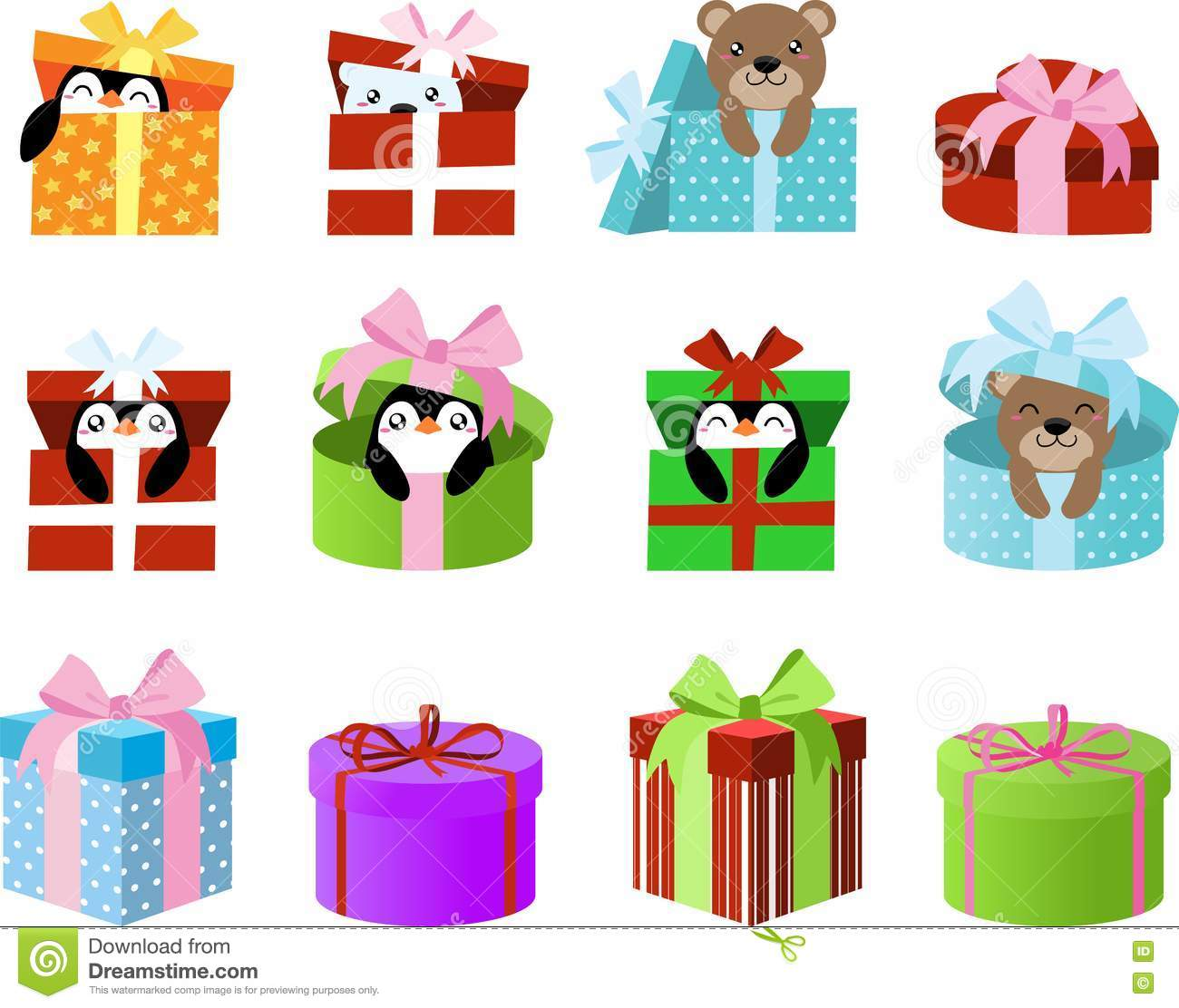 Cute gift boxes clipart with penguins and bears inside clip art for download cute gift boxes clipart with penguins and bears inside clip art for planner stickers negle Image collections