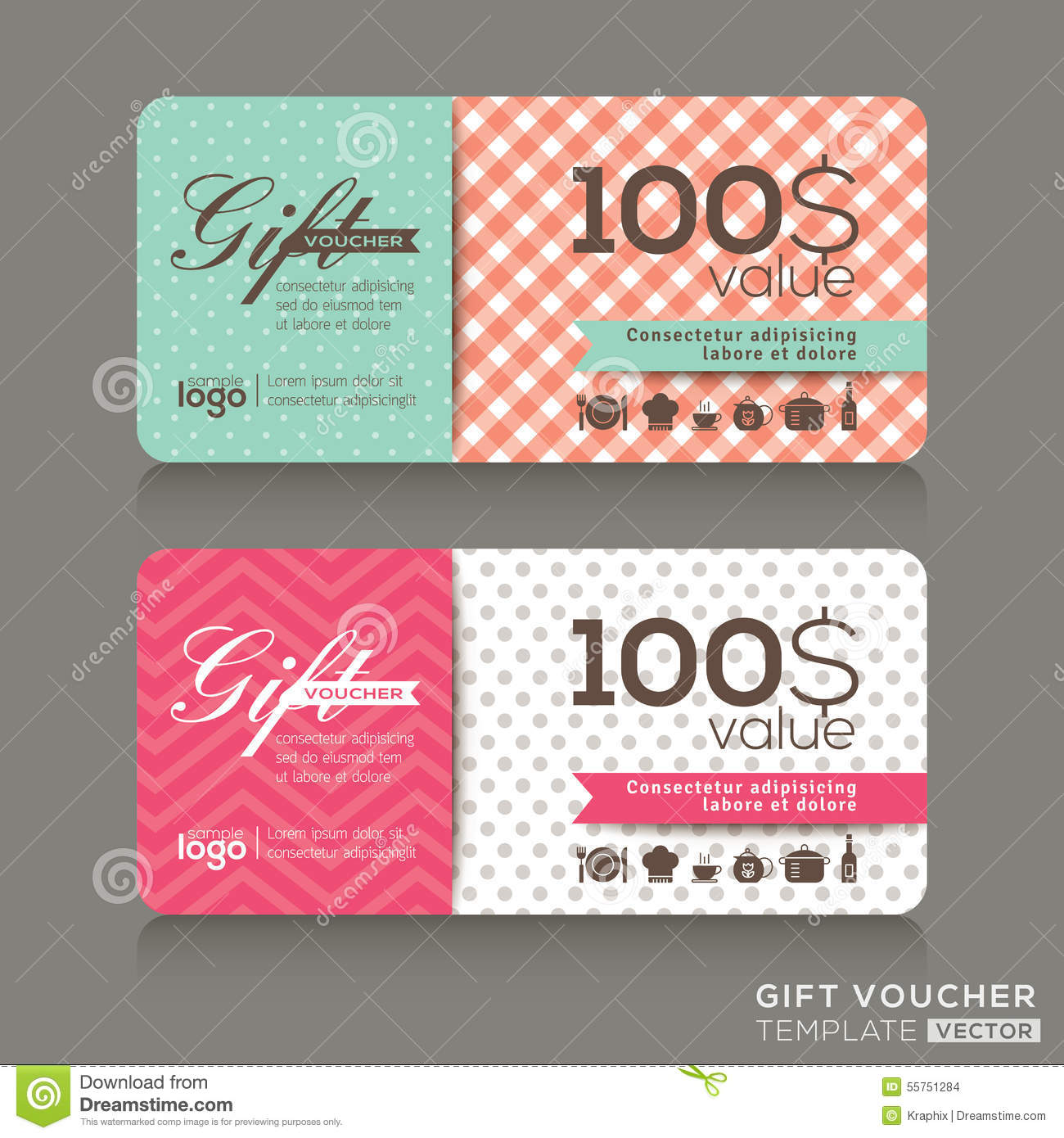 Cute Gift Voucher Certificate Coupon Design Template Stock