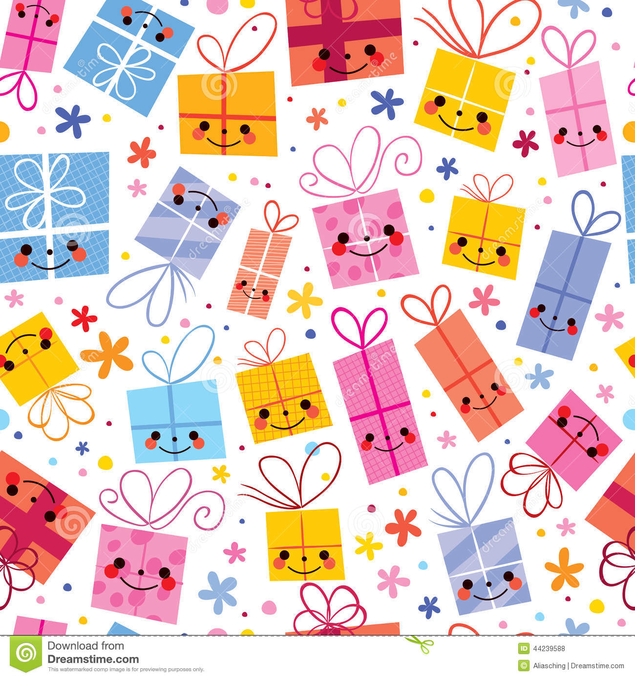 Cute Gifts Wrapping Paper Seamless Pattern Stock Vector