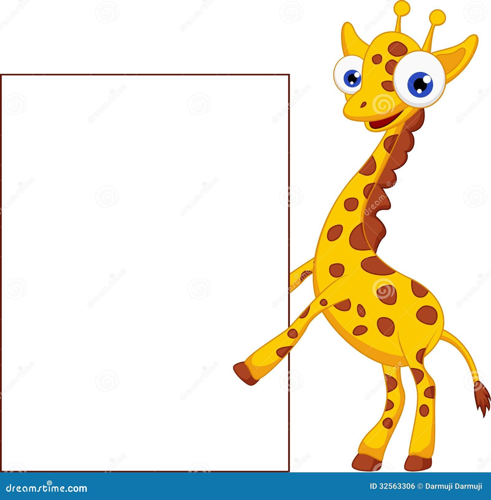 Cute Giraffe Cartoon With Blank Sign Stock Vector