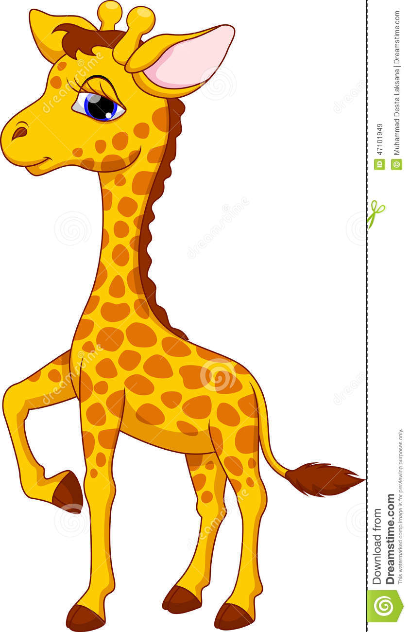 Cute giraffe cartoon stock illustration. Illustration of ...