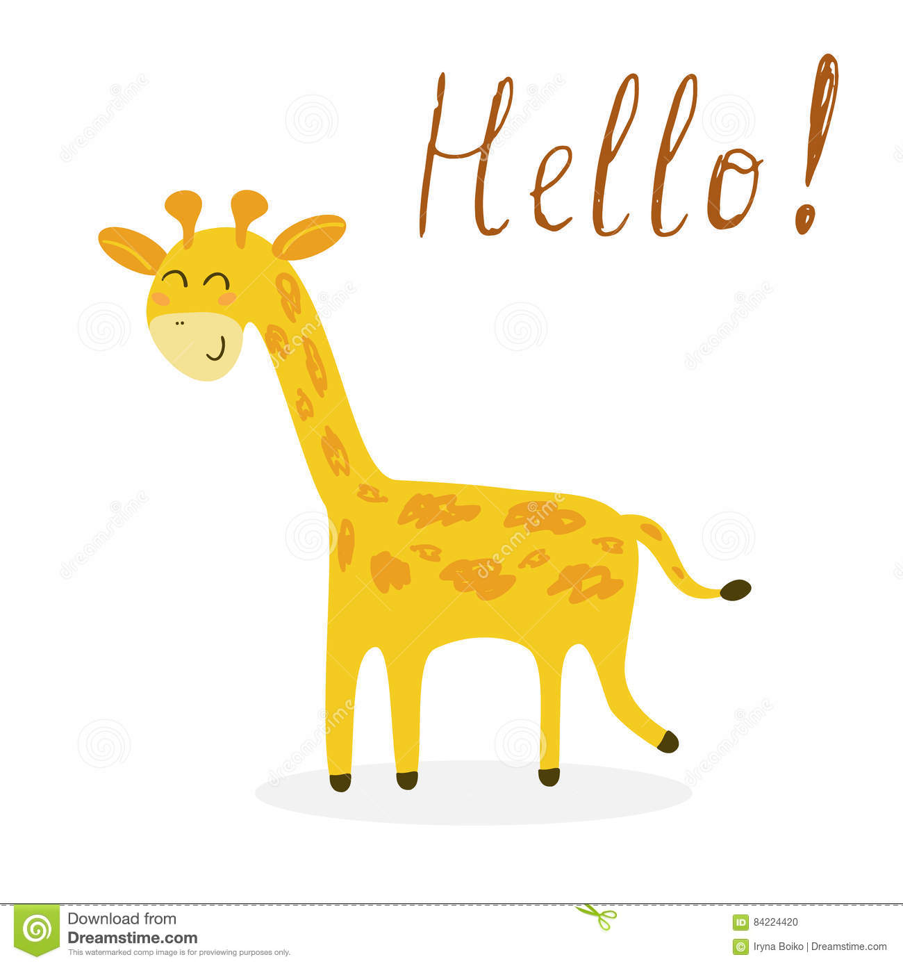 picture about Giraffe Printable called Adorable Giraffe Print For Young children Inventory Vector - Instance of