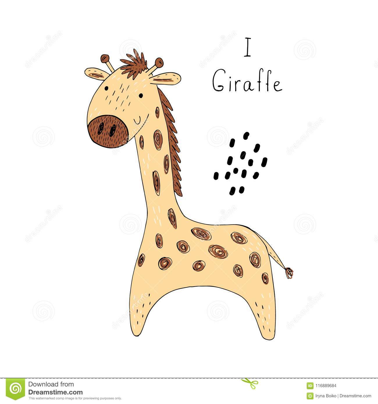 picture about Giraffe Printable identified as Lovely Giraffe Print For Small children Inventory Vector - Example of