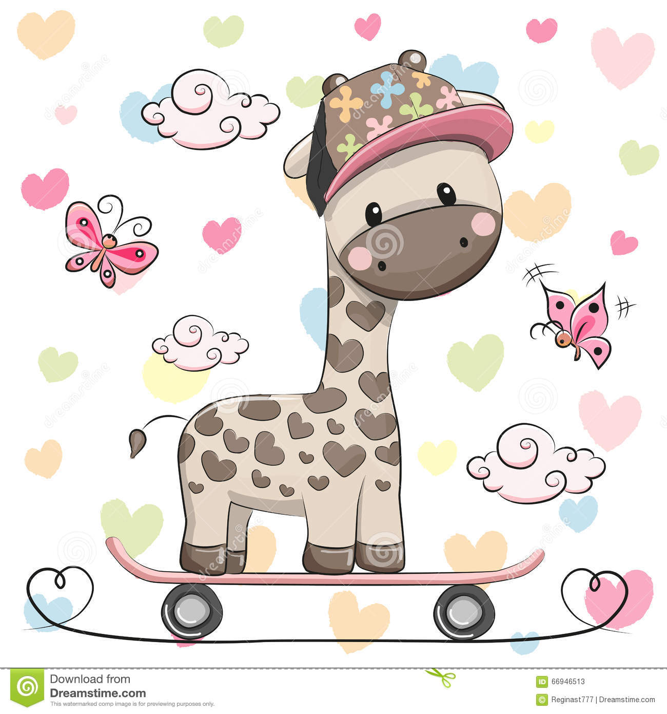 Cute Giraffe with skateboard