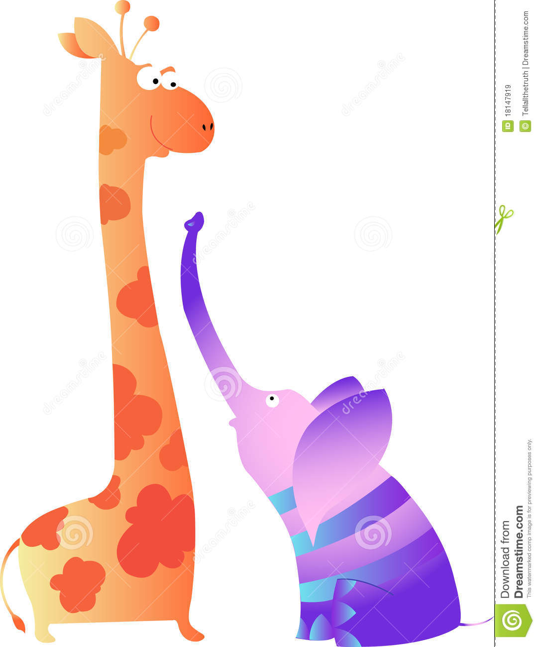 Cute Giraffe And Sweet Elephant Royalty Free Stock Images ...