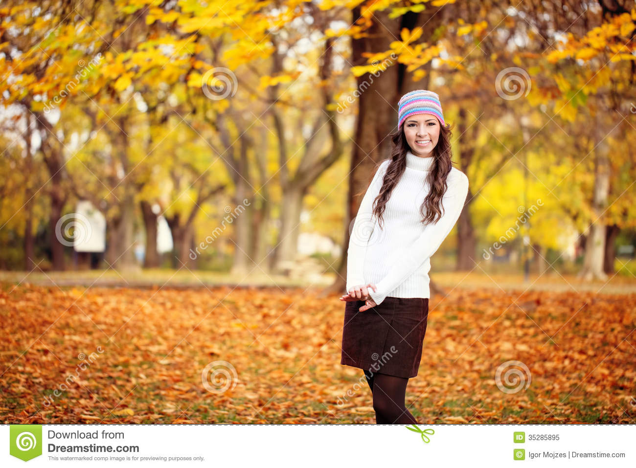 Cute Girl In Autumn Park Royalty Free Stock Photo Image