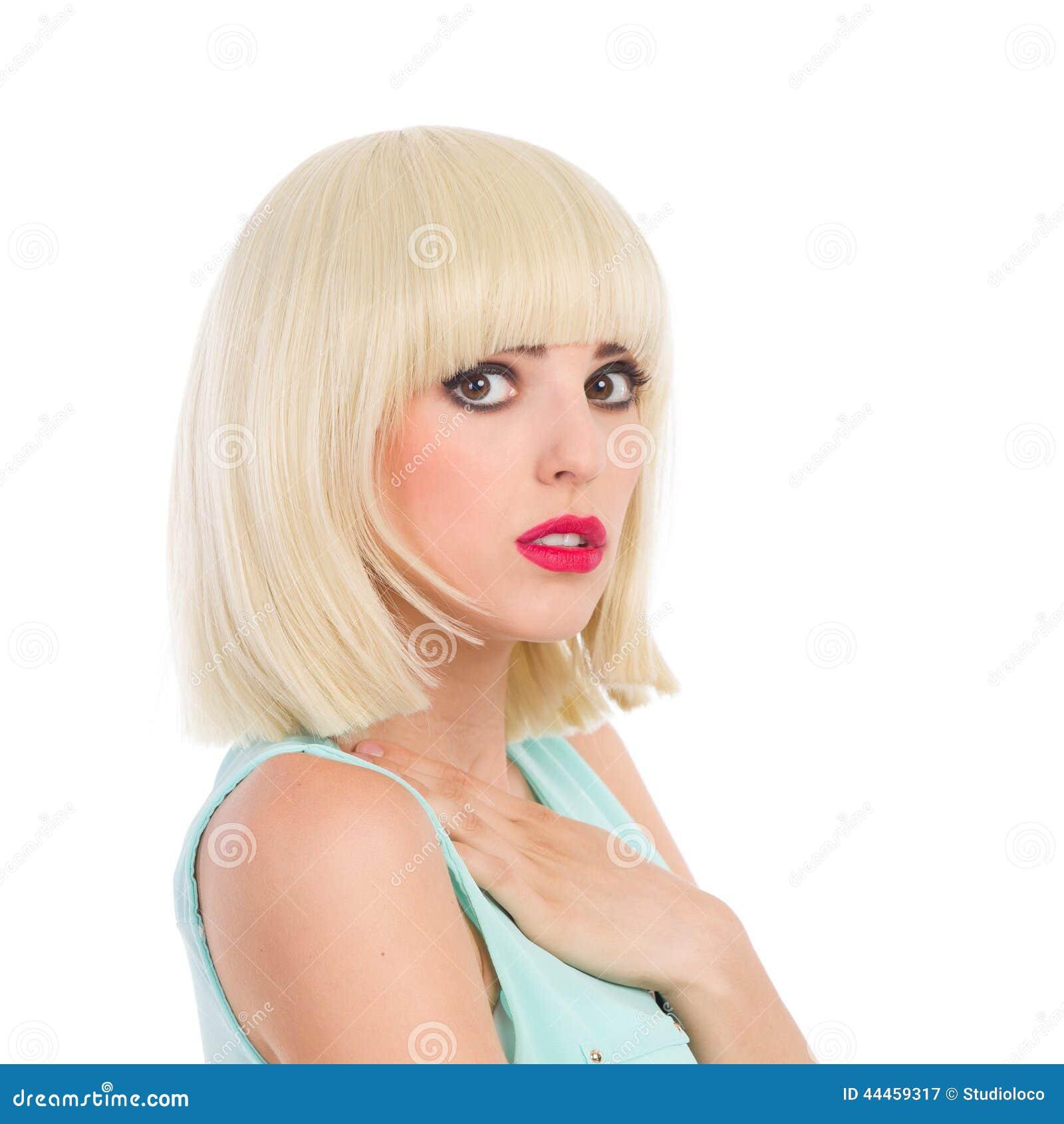cute girl with blonde fringe stock image image of chest fringe
