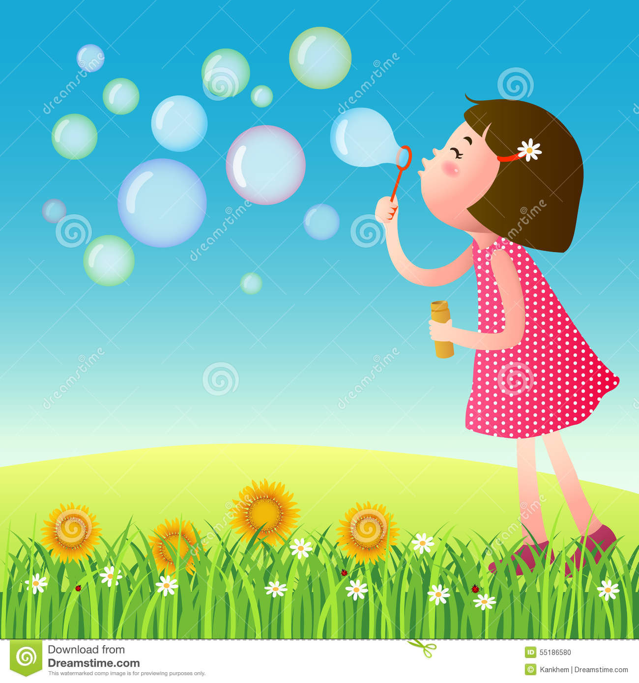 Cute Girl Blowing Bubbles On The Lawn Stock Vector ...