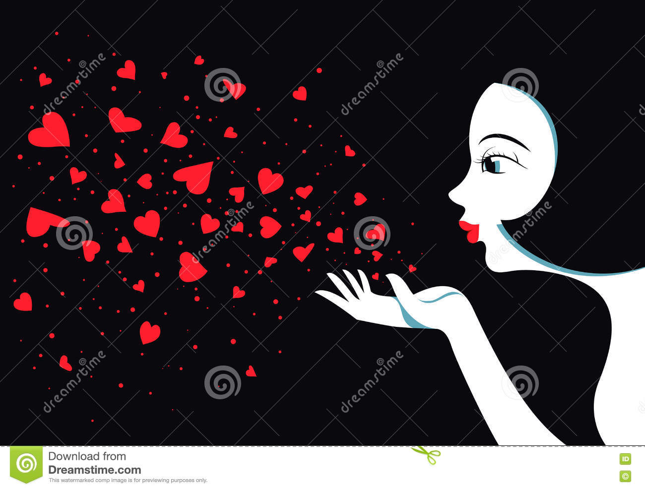 Cute Girl Blows With Hands Hearts Air Kiss Stock Vector