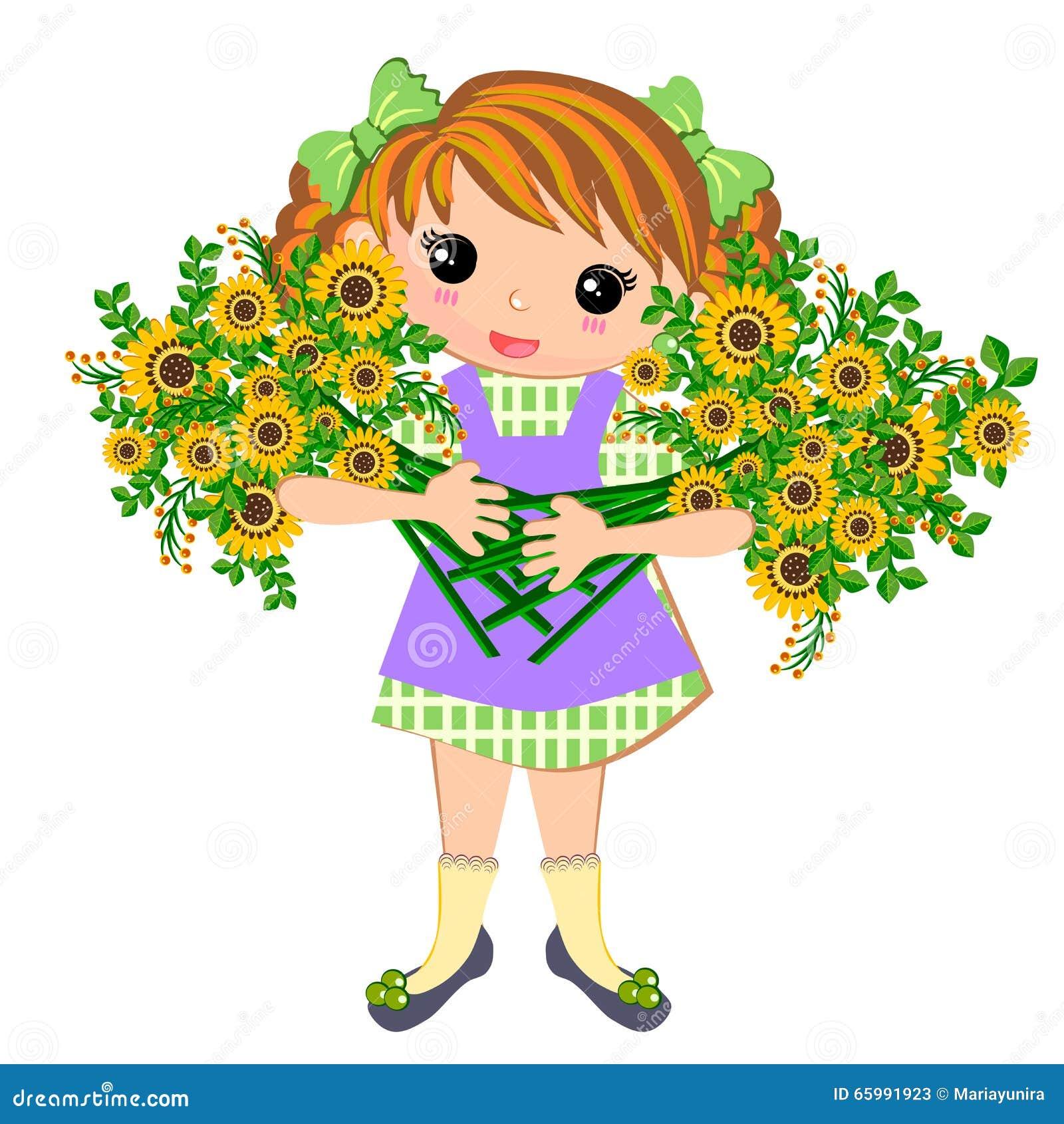 Cute Kids Girl And Bouquet Of Flowers Cartoon Vector