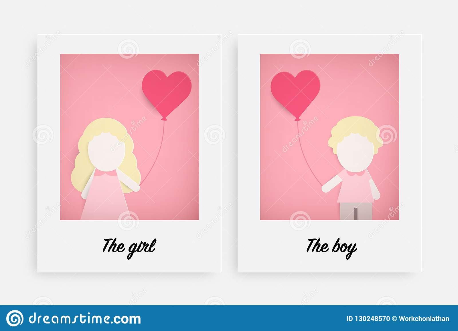 Cute girl and boy hold pink balloon