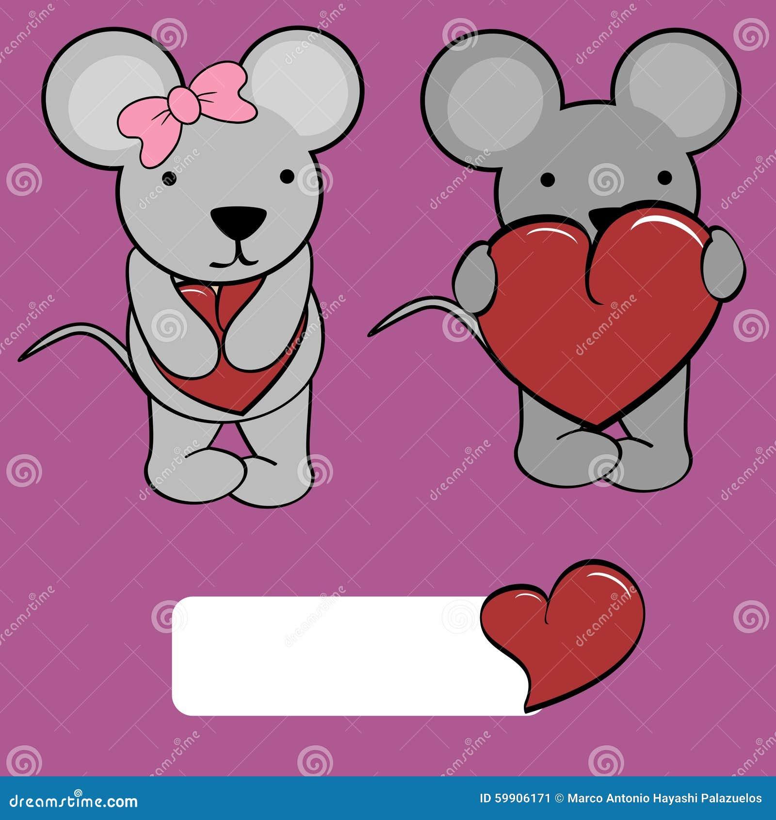 Cute Girl And Boy Mouse Cartoon Love Heart Stock Vector