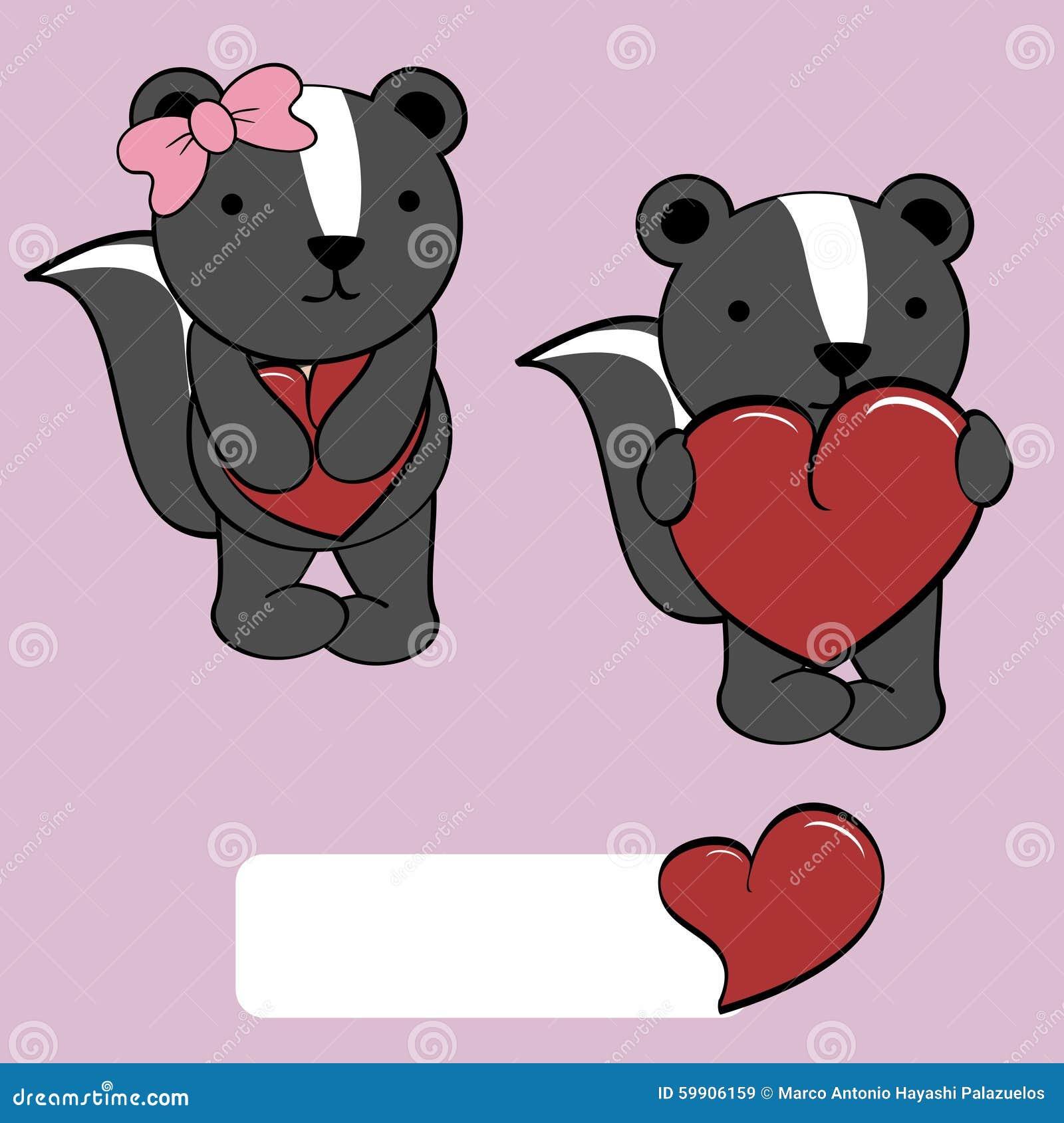 cute girl and boy skunk cartoon love heart stock vector