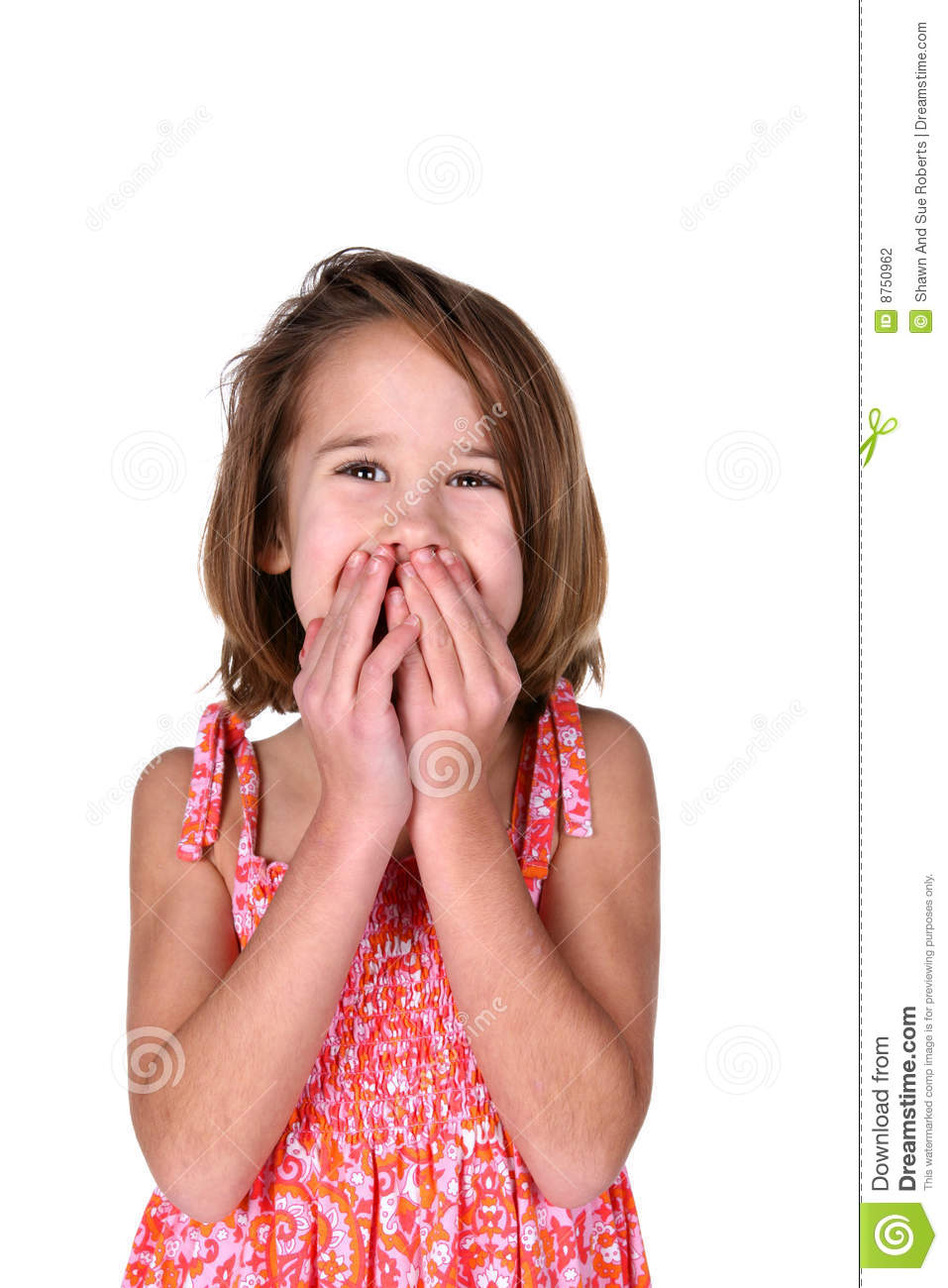 Cute Girl In Bright Dress With Hands Over Mouth Stock Photo - Image ...