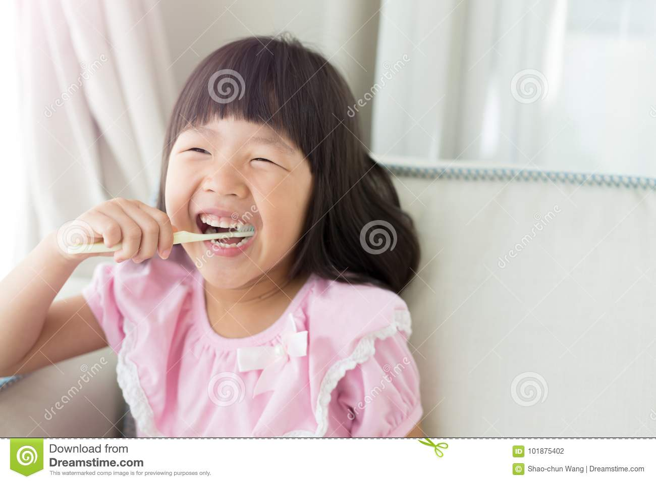 7dd080d580 Cute girl brush teeth stock photo. Image of healthcare - 101875402