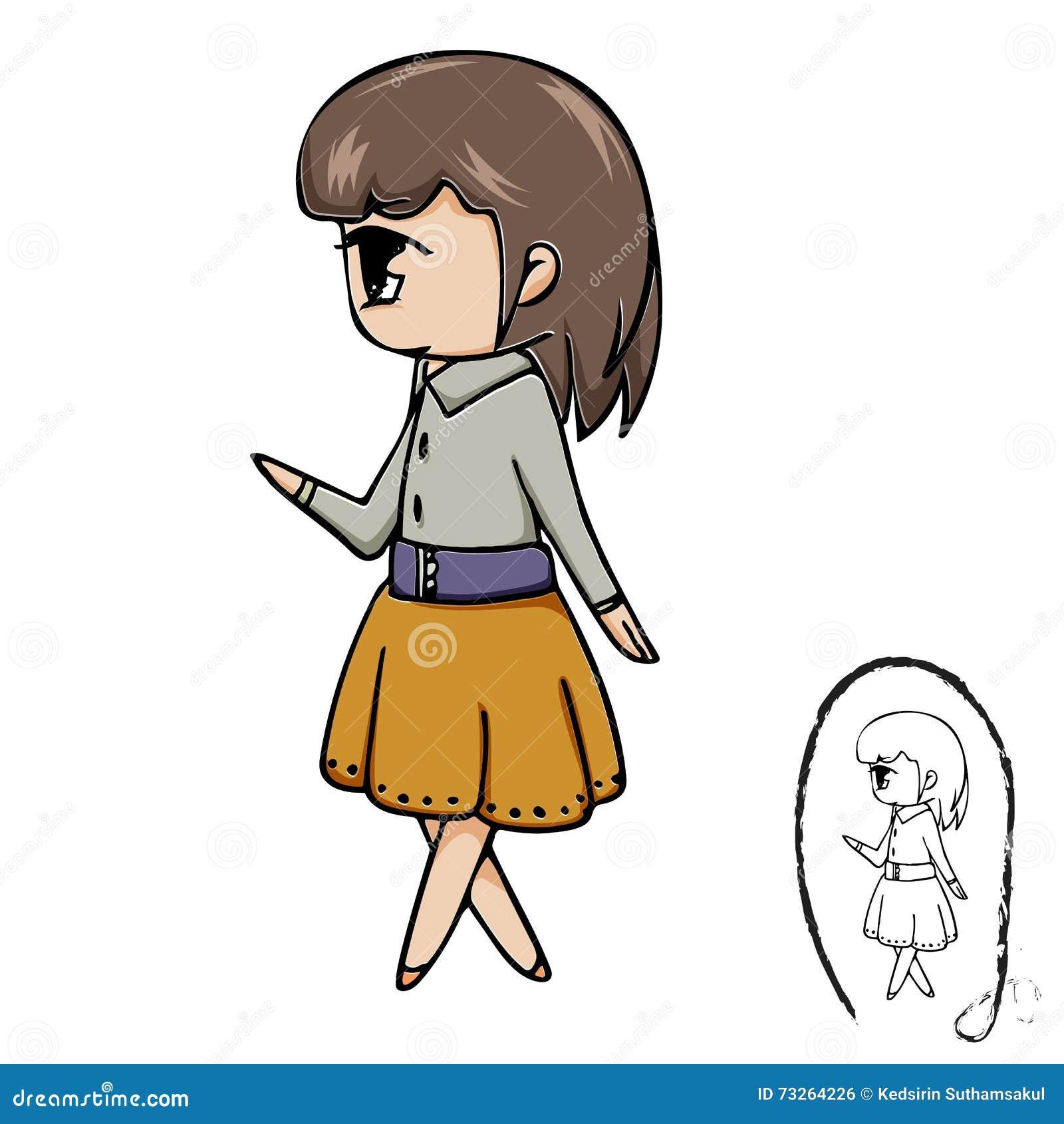 Line Drawing Cartoon : Woman face cartoon sketch in black line doodle vector