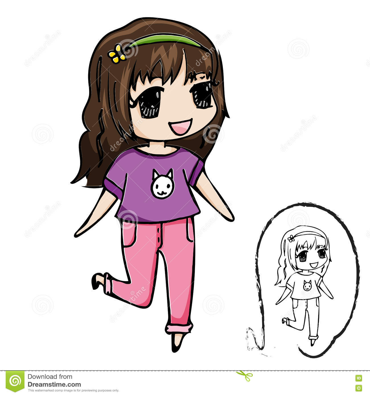 Cute Girl Cartoon Character With Black Line Drawing Illustration