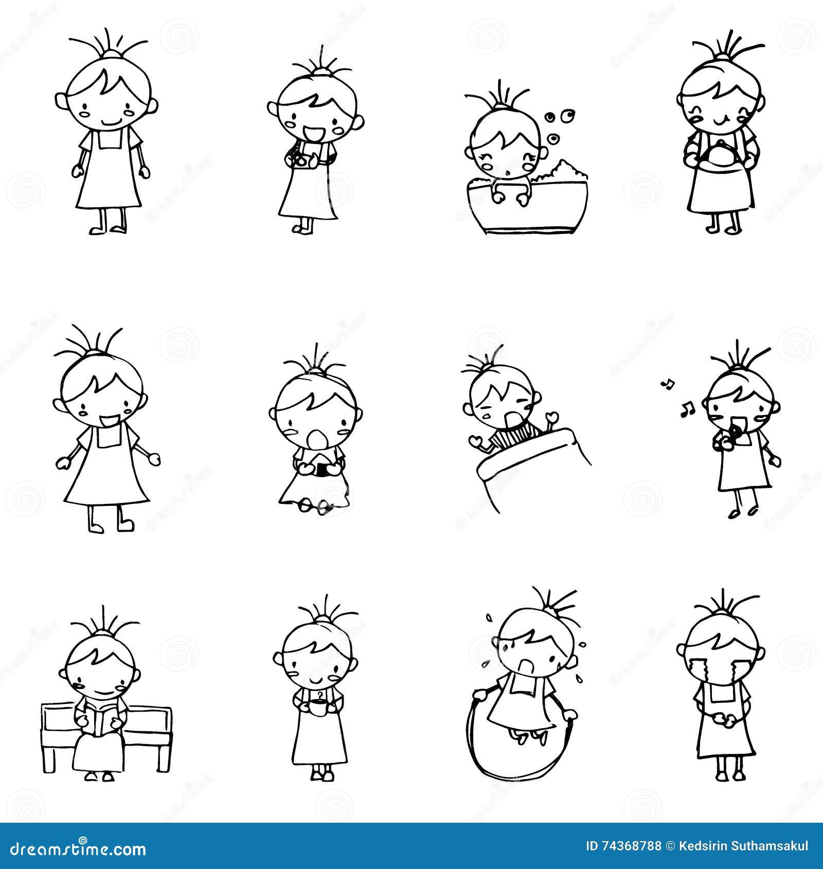 Cute Girl Cartoon Drawing In Black Line Doodle Vector Stock Vector