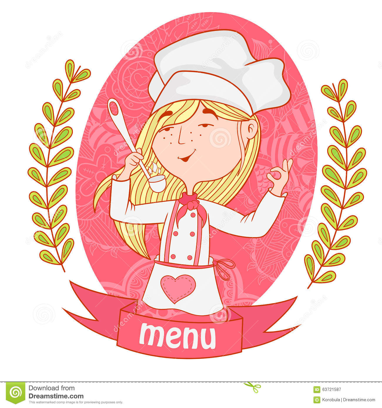 cute girl chef cook with a ladle menu stock vector