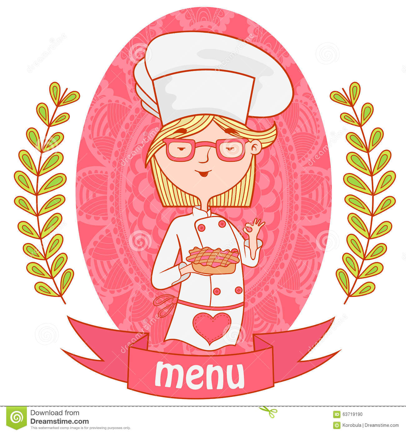 Cute girl chef cook with the pie. menu.